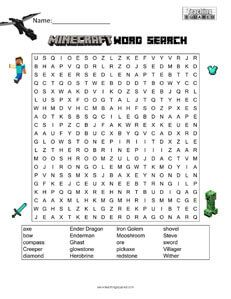Minecraft Word Search Teaching Squared Pinterest