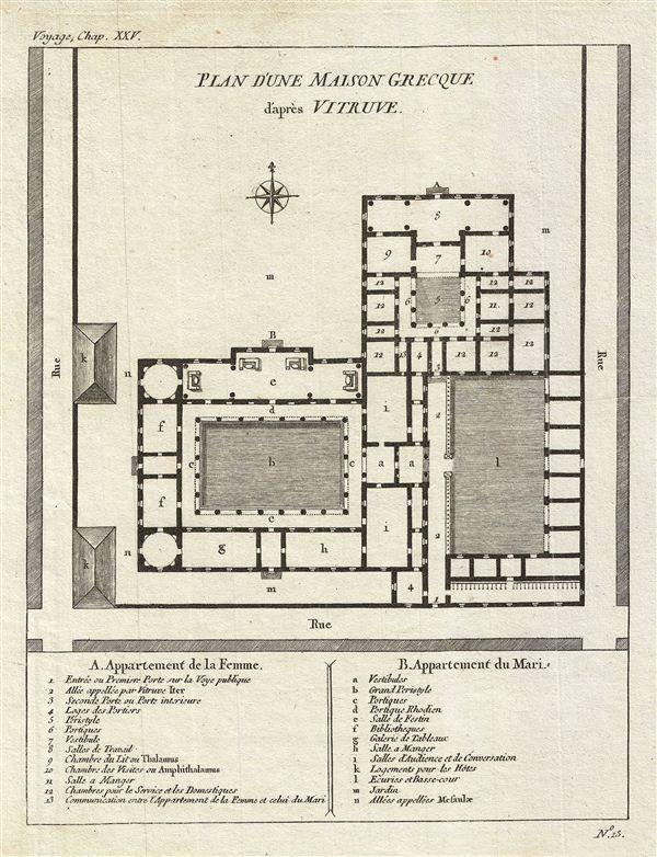 Plan D Une Maison Grecque D Apres Vitruve Ancient Greek Architecture Greek House Ancient Greek