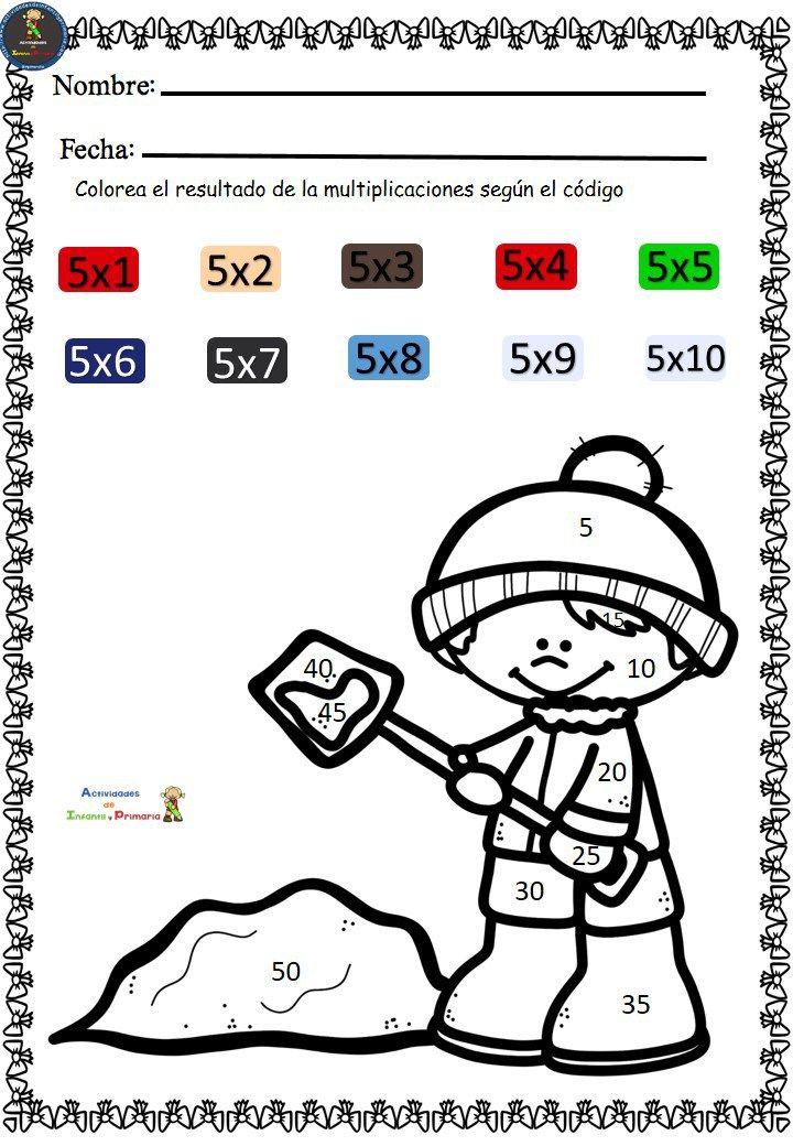 En estas fichas el niño tiene que colorear el resultado de la ...