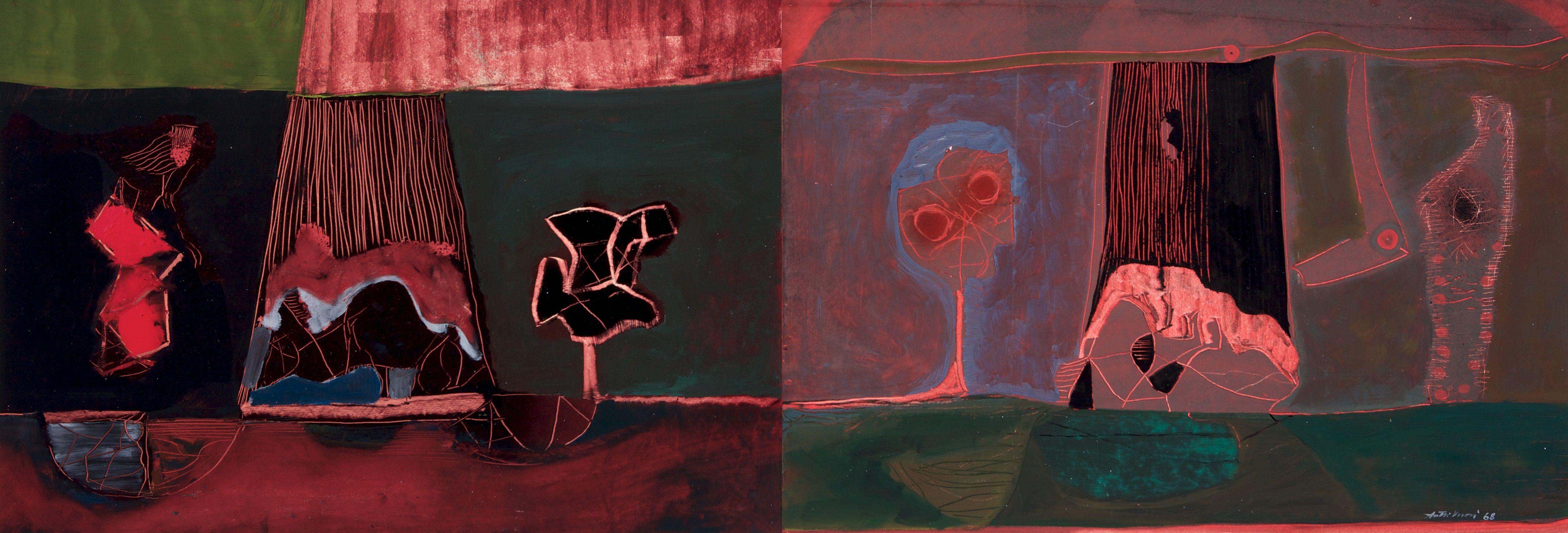 Antti Vuori: Muotoja, 1968, öljy, 41x120 cm - Hagelstam K131