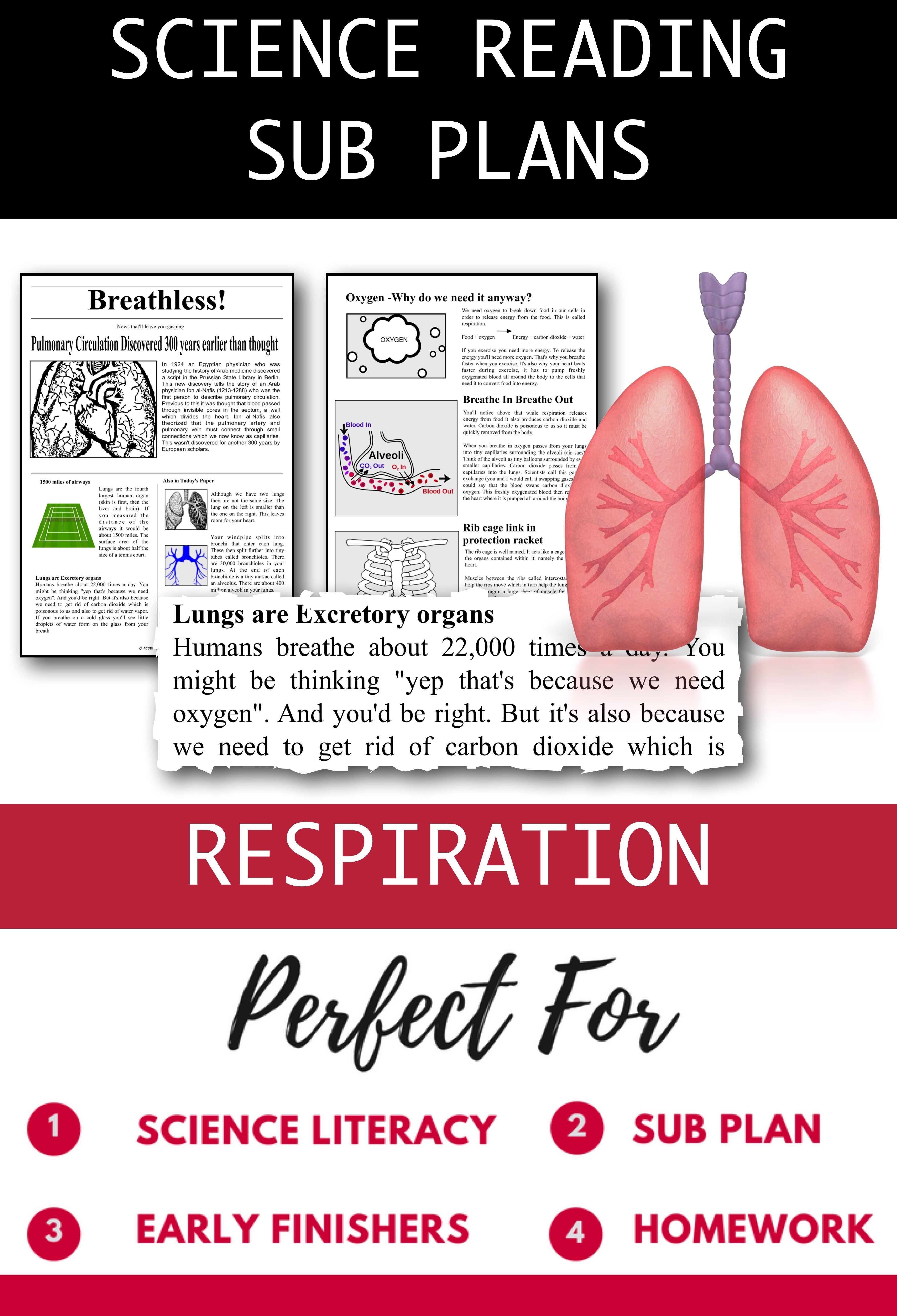 Distance Learning Science Literacy Respiration Science Sub