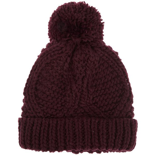 Cable Pom Pom Hat (795 UYU) ❤ liked on Polyvore featuring accessories, hats, beanies, gorros, aubergine, beanie caps, cable knit hat, chunky cable knit hat, pom pom beanie and pompom hat