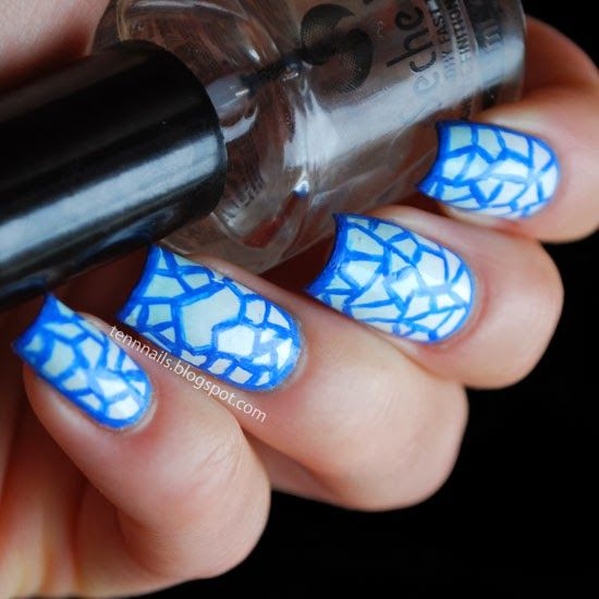 Stained Glass Nail Art: Stained Glass Nail Art. Fill It In With Colors!