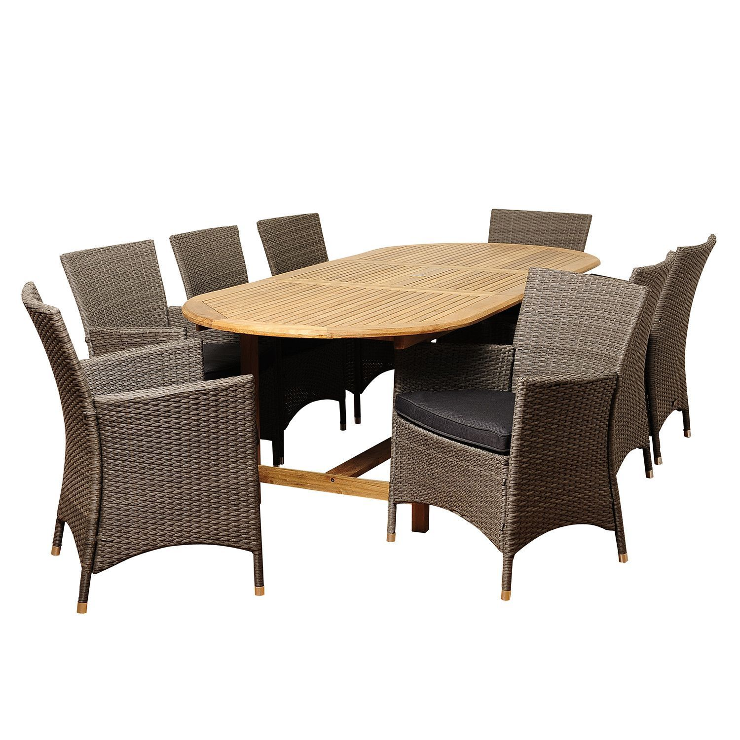 Vermont Extendable Garden Table And Chair Set: Rayford 9 Piece Teak/Wicker Extendable Oval Dining Set