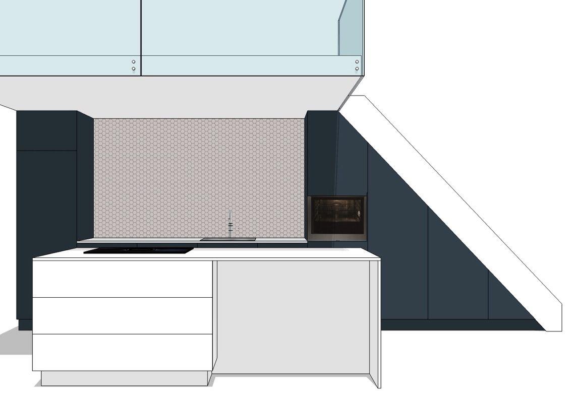 Definitief ontwerp voor een keuken kasten en trap onder vide