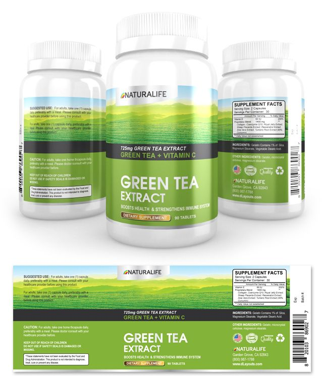 Green Tea Extract Supplement Label Template    wwwdlayouts - labeltemplate