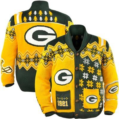 Green Bay Packers Ugly Sweater Cardigan | Packers, Green bay ...