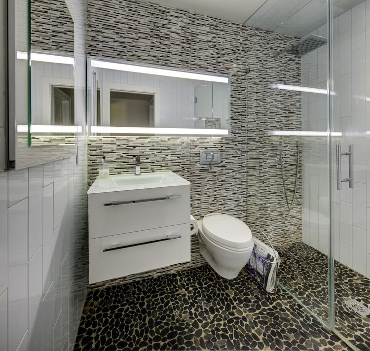 Modern Small Bathroom With Curbless Walk-in Shower
