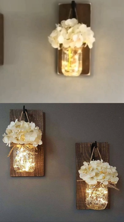 Mason Jars Sconce with Silk Hydrangea and LED Strip Lights Design 6 Hour Timer (Set of 2)