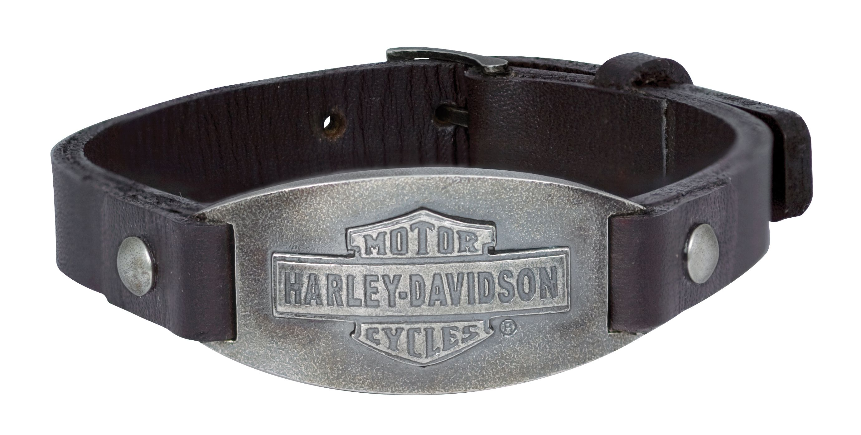 Harley Davidson Men S 925 Silver Vintage Bs Oval Leather Bracelet
