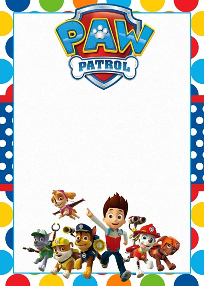 photograph about Printable Paw Patrol Invitations named Absolutely free Printable Paw Patrol Invitation Template Heritage