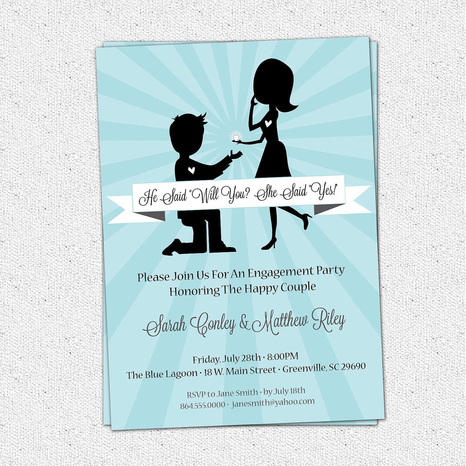 High Quality Printable Engagement Party Invitation, Retro Couple, Ring, He Asked .  Free Printable Engagement Invitations