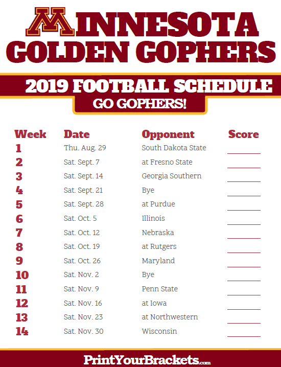 Pin By Michael Osborn On Schedule Minnesota Golden Gophers Minnesota Gophers College Football Schedule