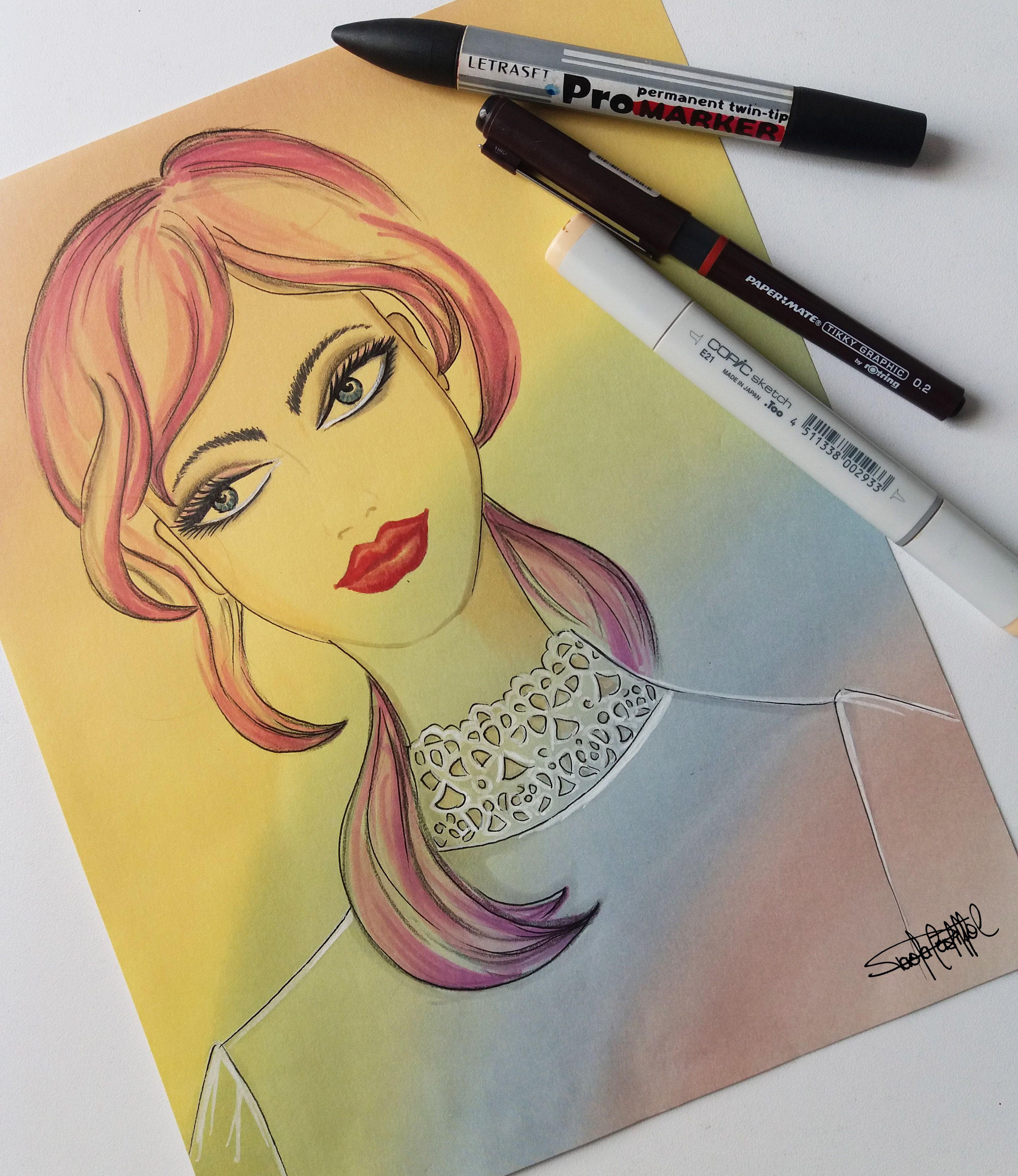 Como Dibujar Una Cara Femenina Con Marcadores Dibujo De Rostro Femenino Como Dibujar Una Cara Dibujos De Caras
