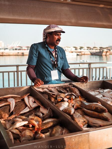 A man selling fish at a market in Doha.