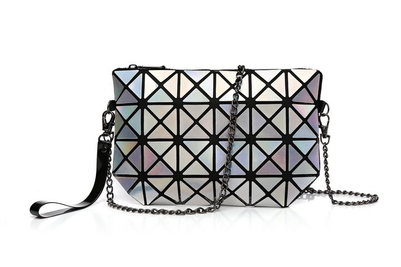 Fashion women geometric rhombus lattice folding woman triangle splicing  square mosaic laser clutch Women s Crossbody Bag 57f774dae07d6