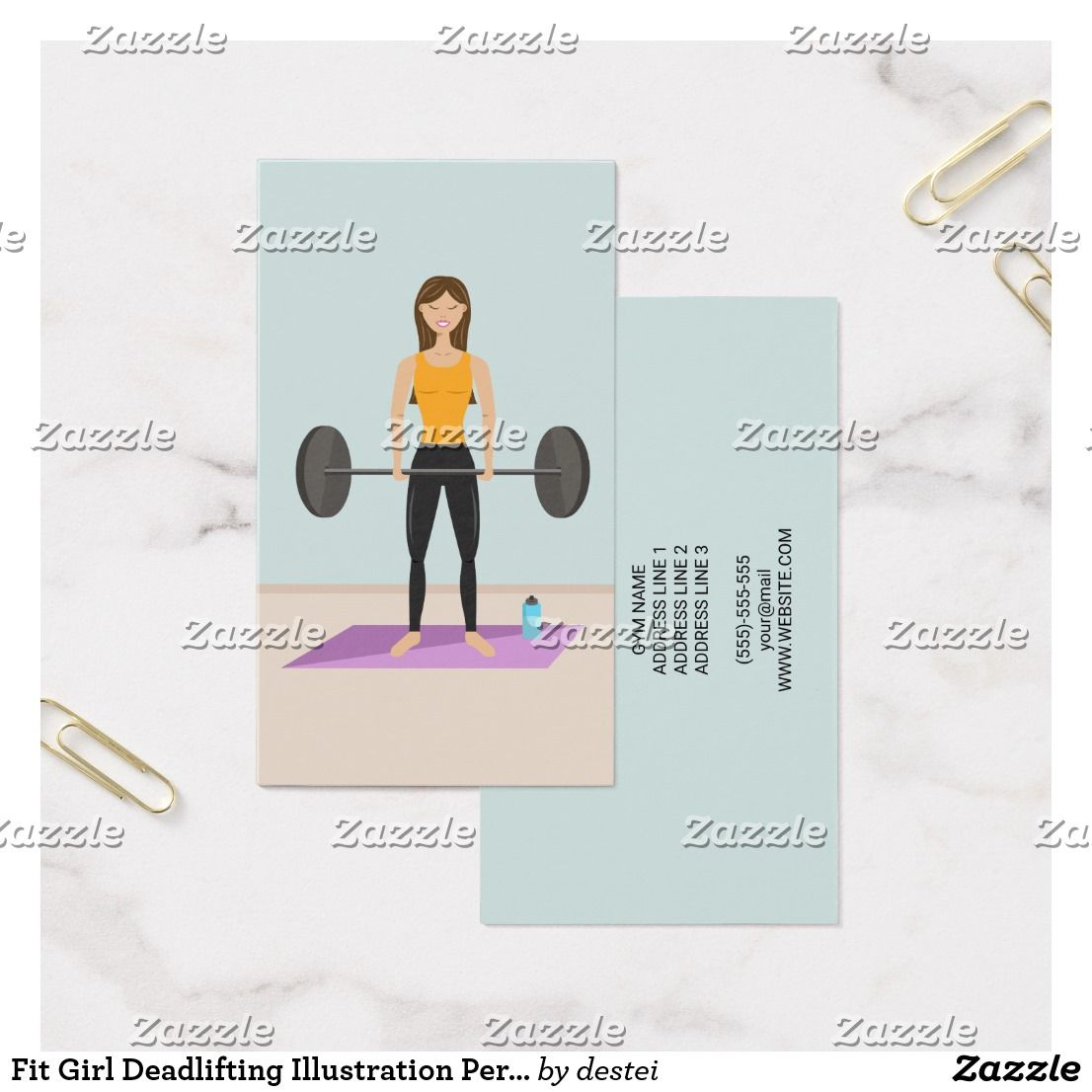 Fit Girl Deadlifting Illustration Personal Trainer Business Card