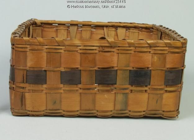 A square band basket made by a member of the Penobscot Nation about 1880. The bands are nearly black, probably from indigo dyes, which can range in color from a light, bright blue to a blue-black depending on the concentration used. Item # 23440 on Maine Memory Network