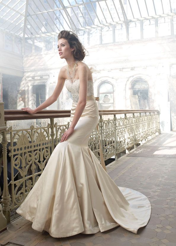 Antique silk faced satin trumpet bridal gown, sweetheart neckline ...
