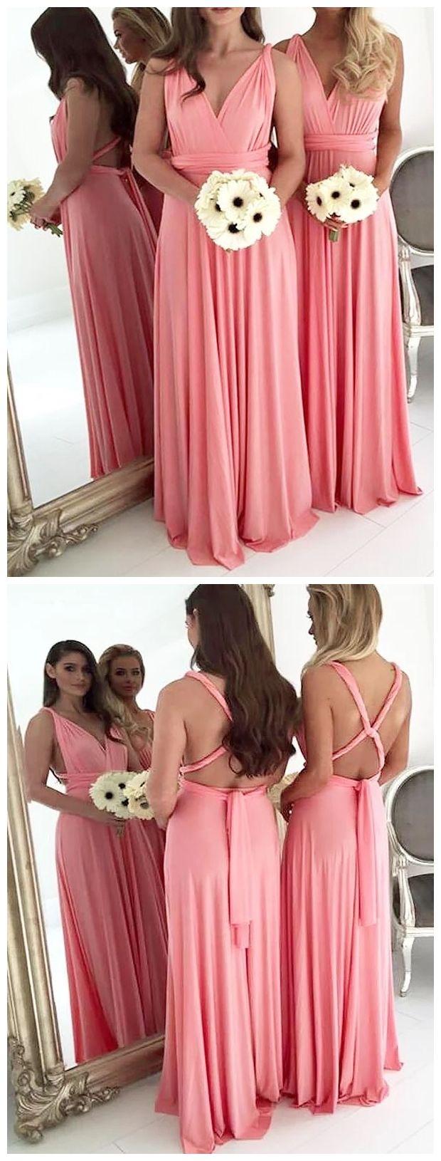 Long chiffon plus size bridesmaid dresses backless light coral