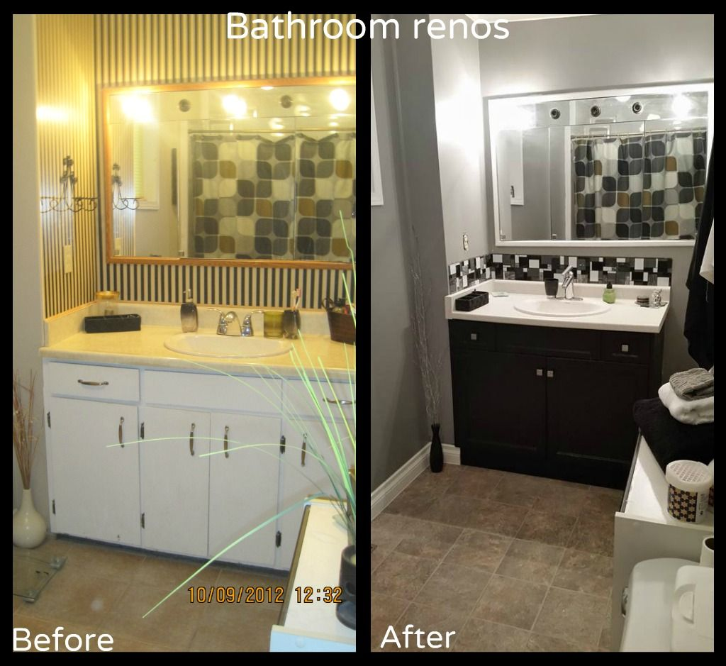 Painting Wood Trim White Before And After: Before And After Pictures Of Our Bathroom Reno's: Painted