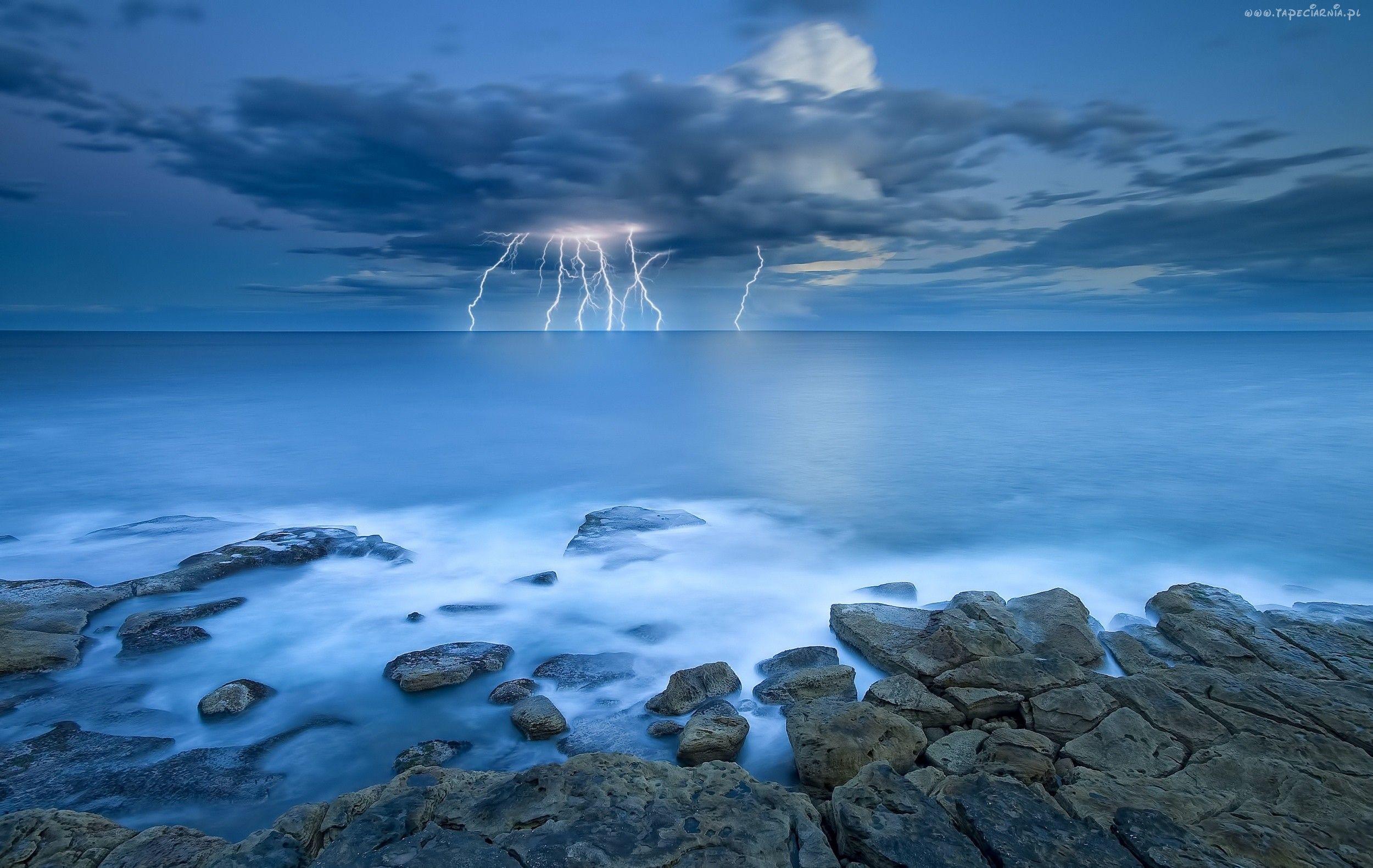 Edycja Tapety: Morze, Kamienie, Burza
