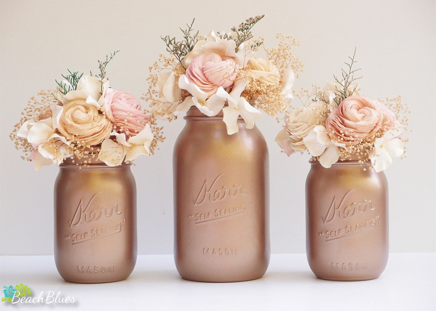 Rose gold decor painted mason jars fall home decor wedding for Home decor centerpieces