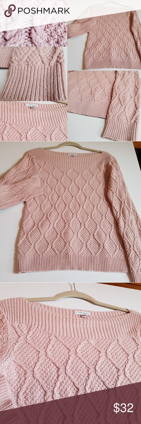Light Pink Cable Knit Sweater (Like New) | Cable knit sweaters ...