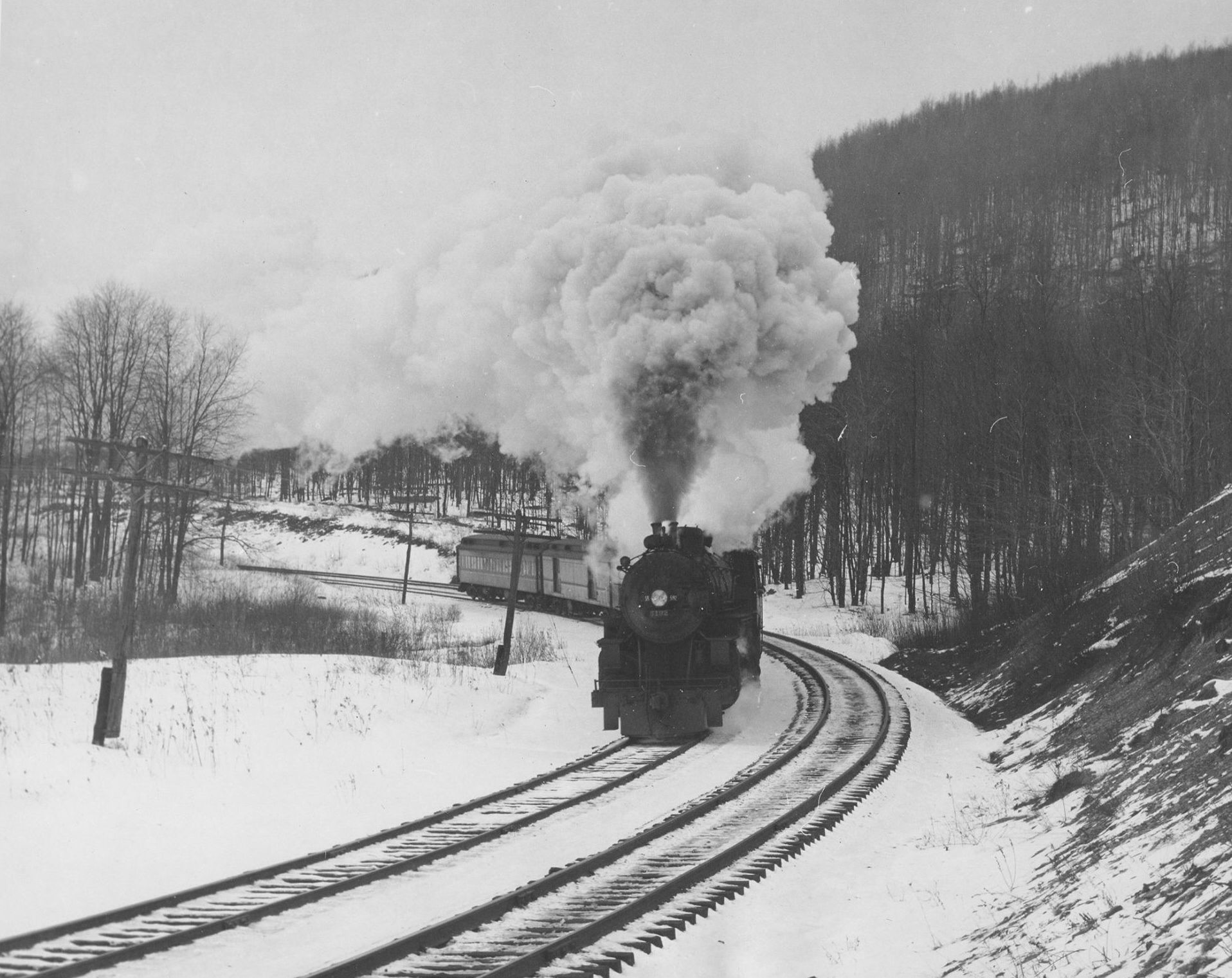 A B&O passenger train near Bradford, PA. Train travel