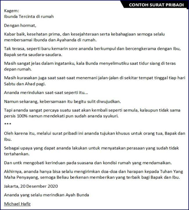 Contoh Surat Pribadi Untuk Guru Bahasa Indonesia Guru Galeri