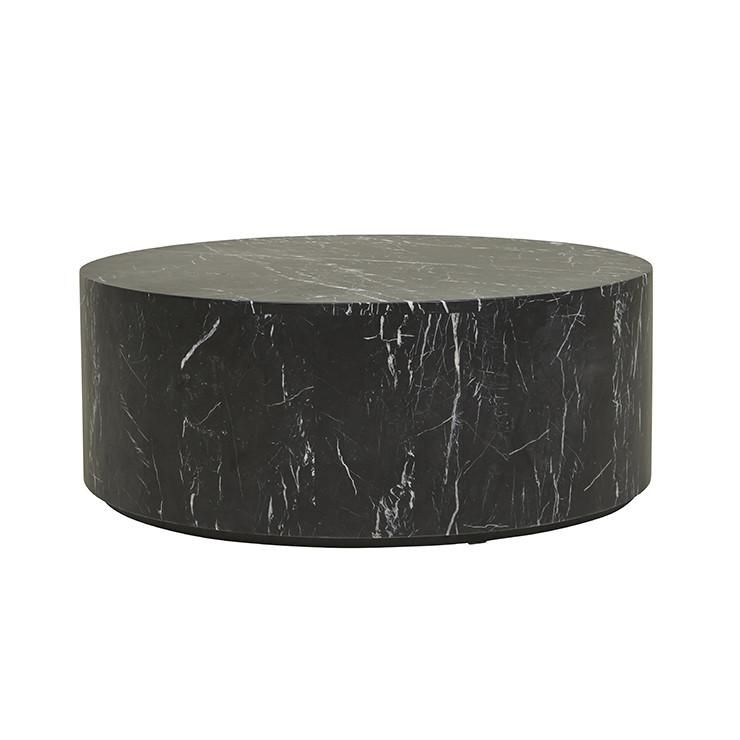 Solid Black Marble Round Coffee Table 900mm Diameter In