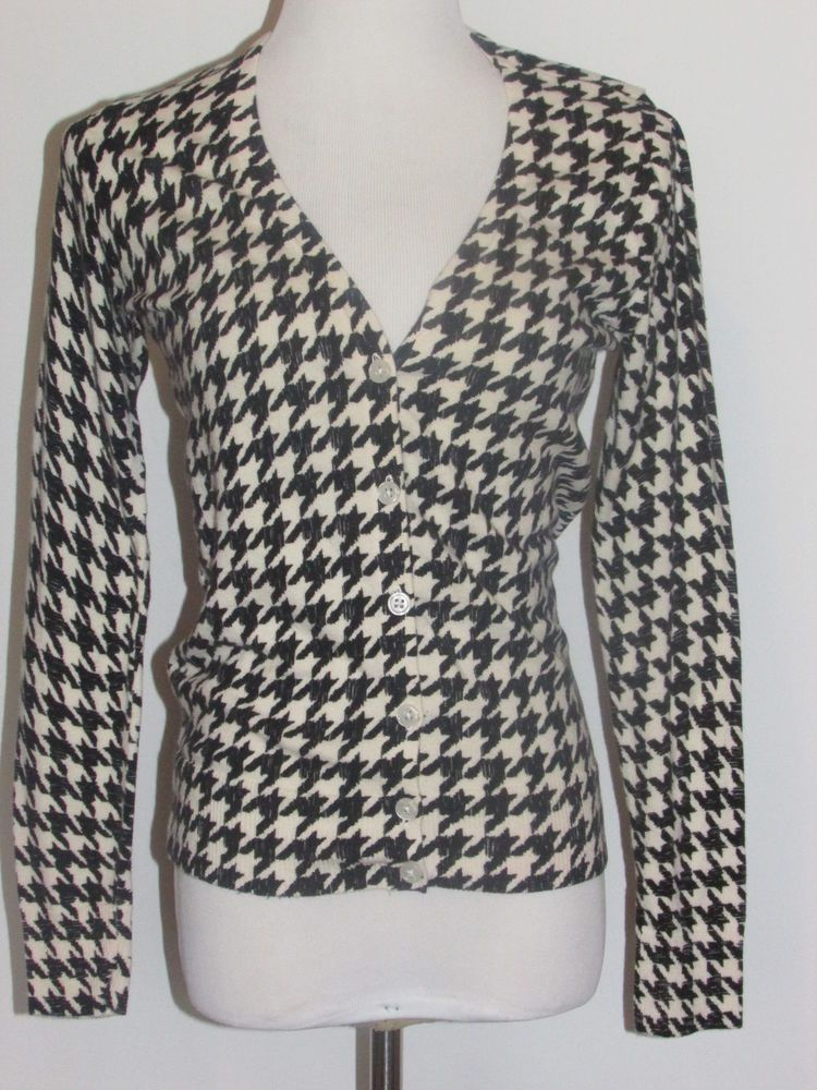 Merona Ladies Sz Sm Houndstooth Cardigan Sweater Long Sleeve 2