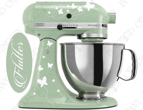 Butterfly Print Decal Kit for your Kitchenaid Stand Mixer PLUS a FREE Bonus Decal - BIRTHDAY! $12.99 in AVOCADO coloring