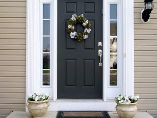 Love The Black Door With White Trim And Tan Siding Home Decor