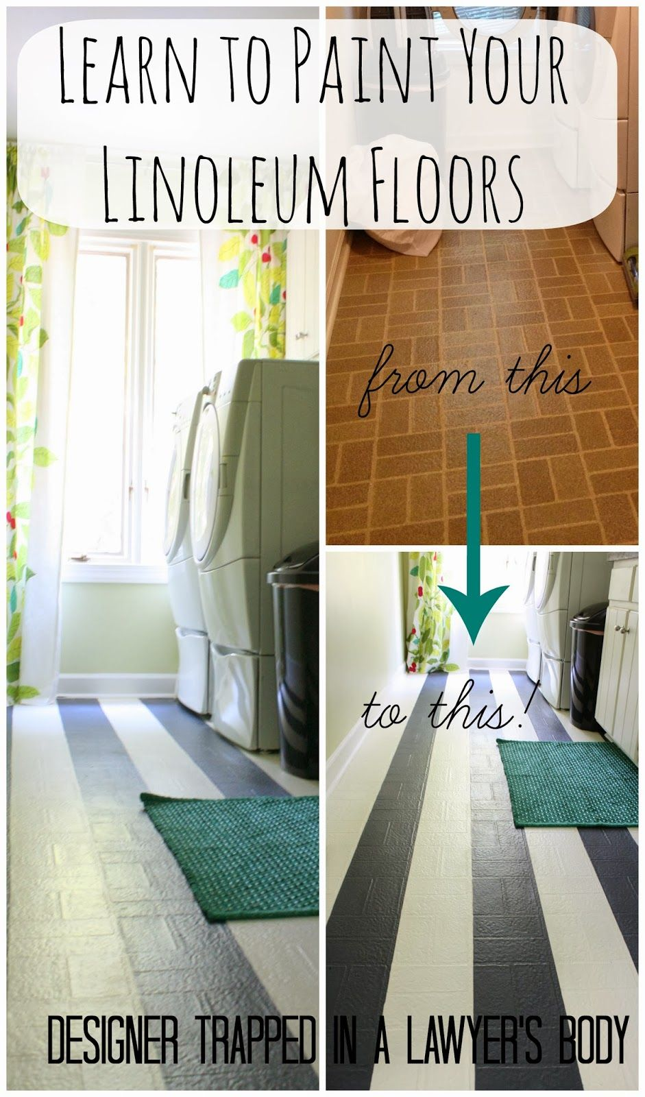 Designer Trapped in a Lawyer's Body: How to Paint Your Linoleum Floors {Yes, YOU CAN DO THAT!}