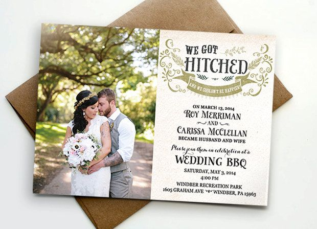 Post wedding reception invitation   We got hitched Wedding - invitation wording for elopement party
