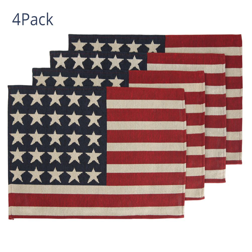 Feuille Fourth Of July Placemats Set Of 4 Americana Stars Patriotic Decorations Usa Placemat In 2020 Patriotic Decorations Holiday Table Decorations Patriotic