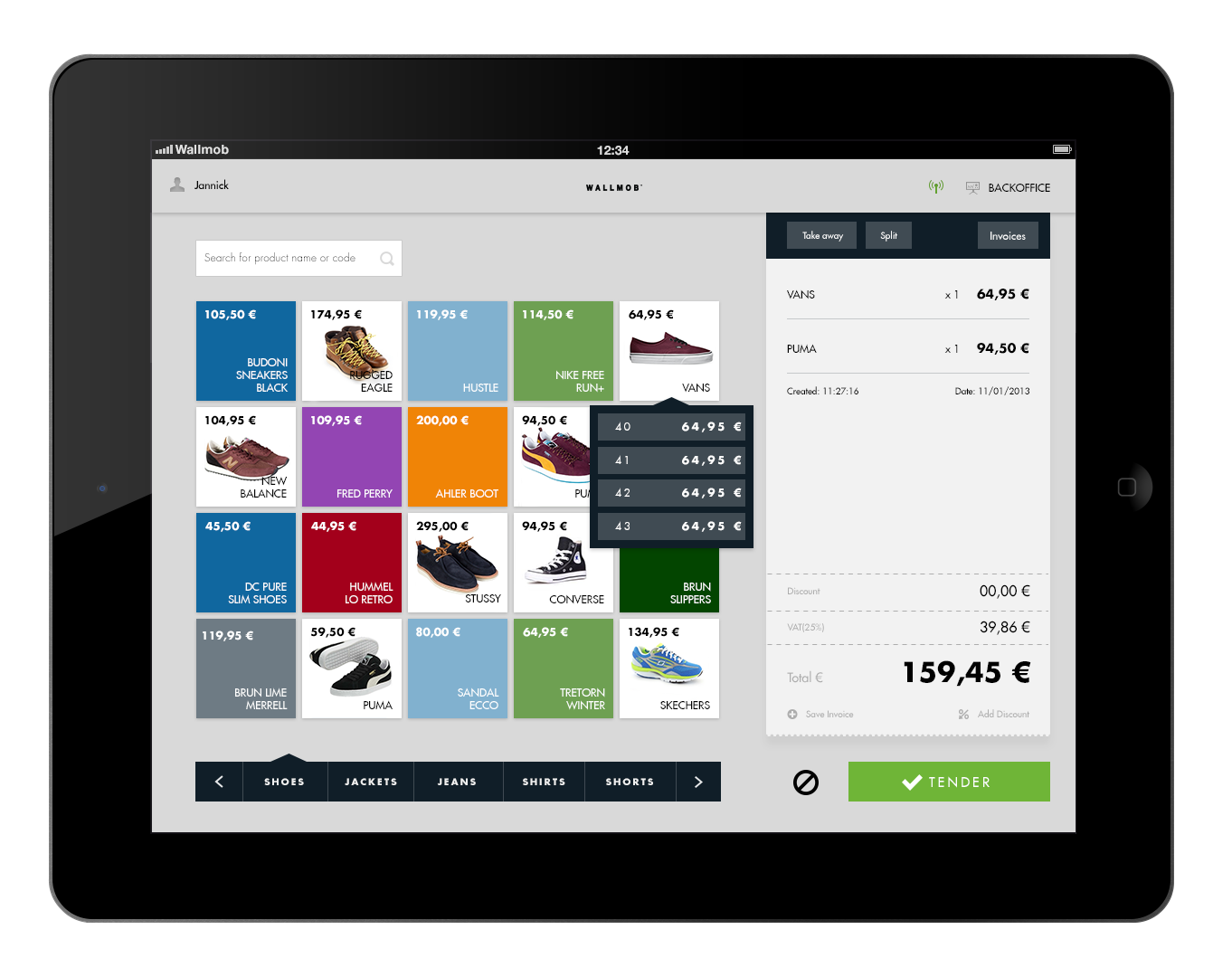 Wallmob Point Of Sale Interfaces Graphiques