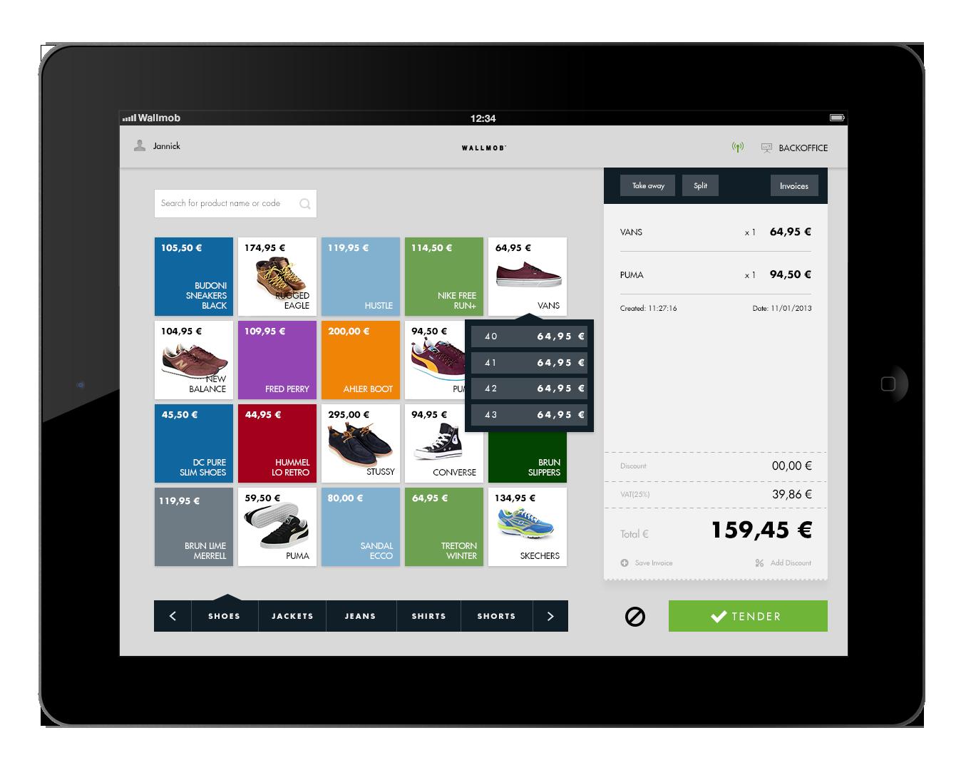 Wallmob™ point of sale ui design pinterest pos