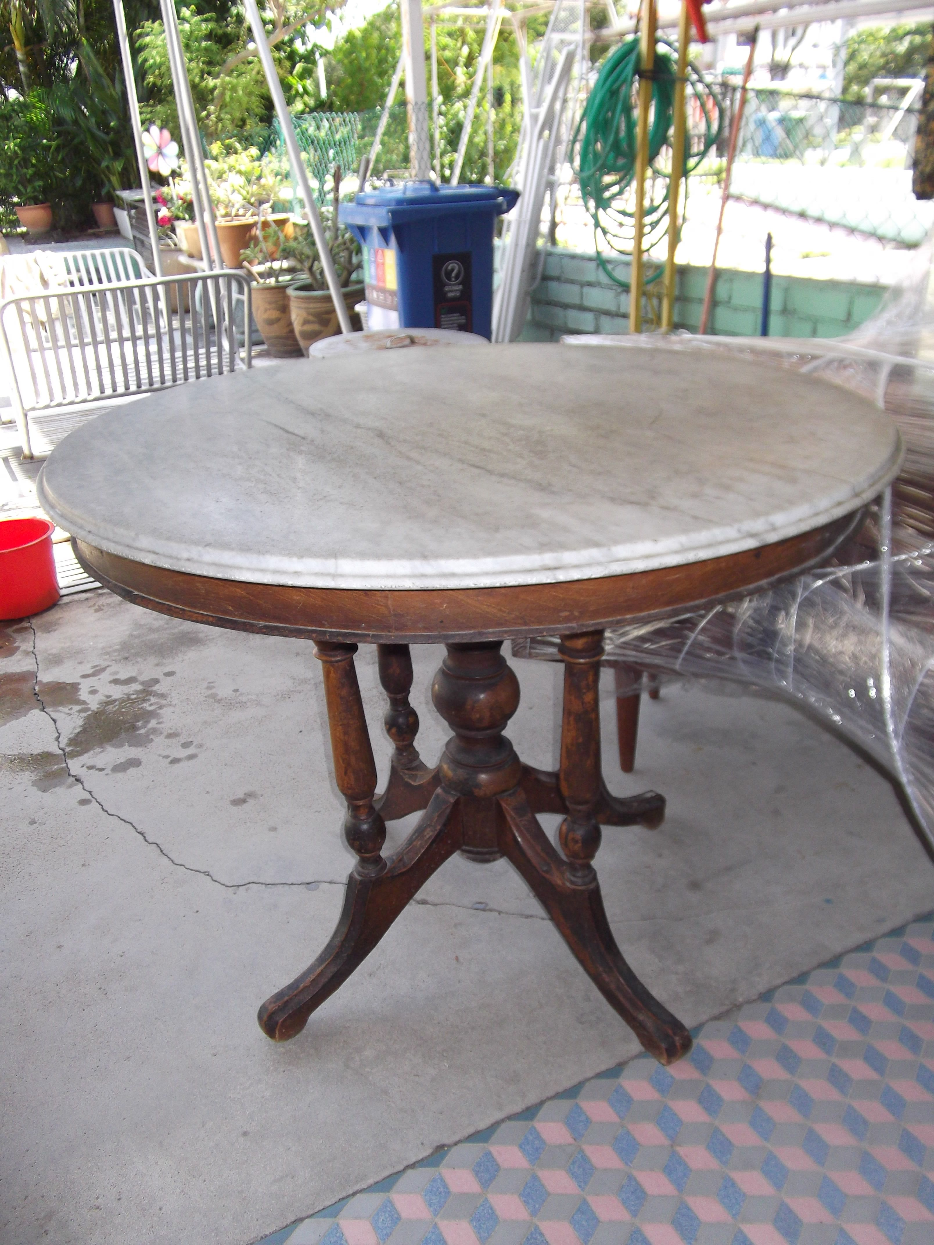 You Are Looking At A Vintage 1950s Kopitiam Marble Table For Sale