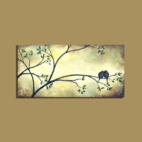 Original Painting - Love Birds on Tree Branch... I\'m thinking I may ...