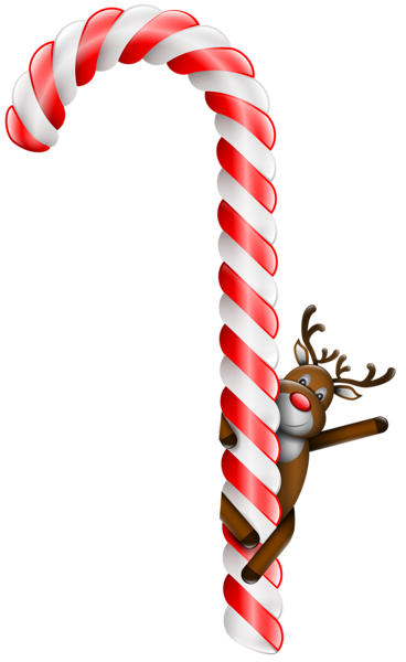 Transparent Large Christmas Candy Cane with Deer PNG Clipart