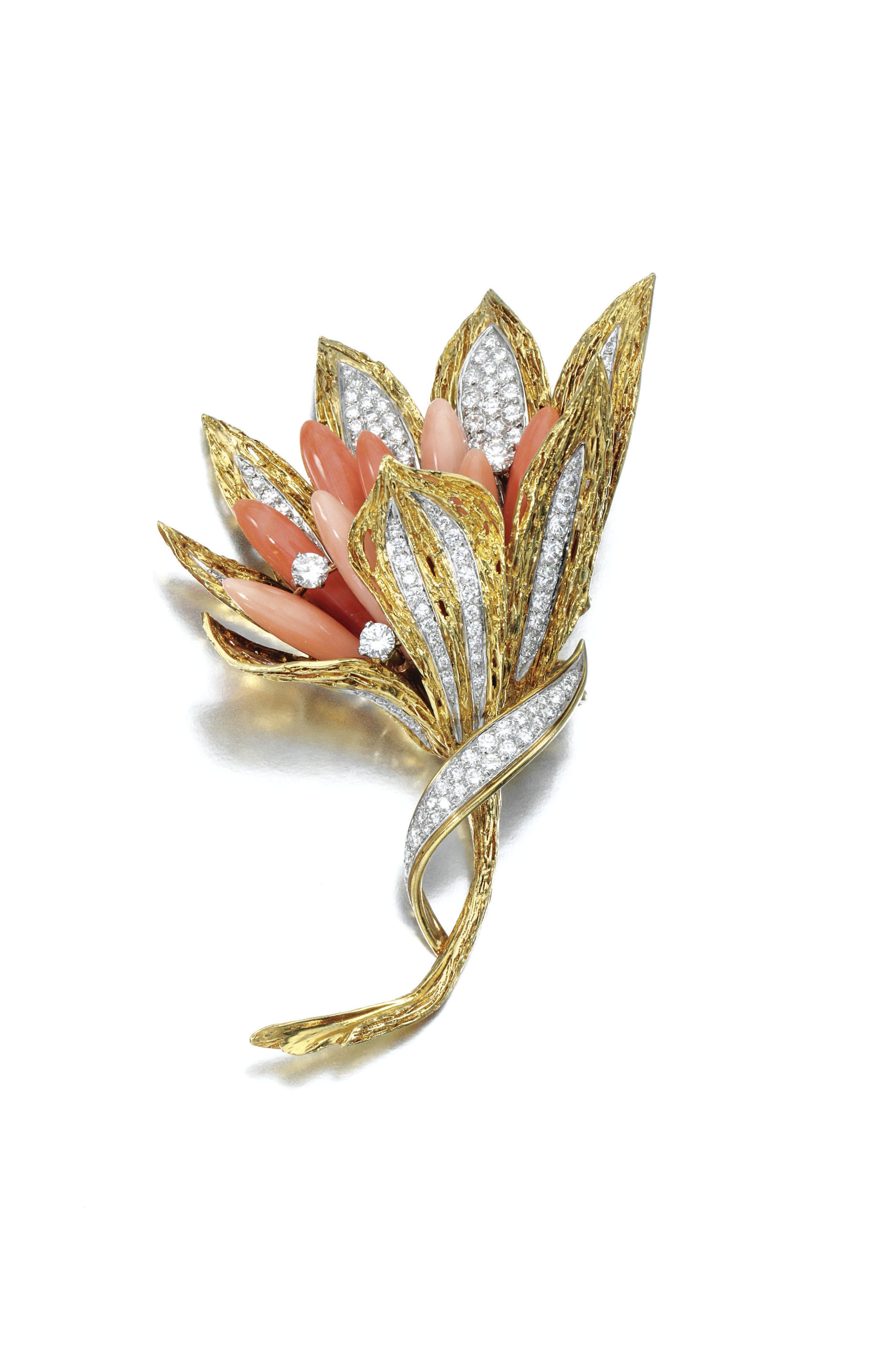 CORAL AND DIAMOND BROOCH Designed as a flower, the centre set with cabochon coral, highlighted with brilliant-cut diamonds, the textured petals and stem further set with similarly-cut diamonds, French assay and maker's mark, case.