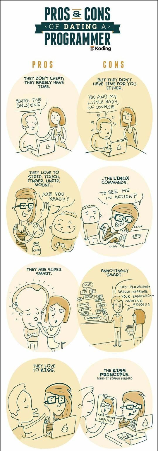 pros and cons of dating a programmer