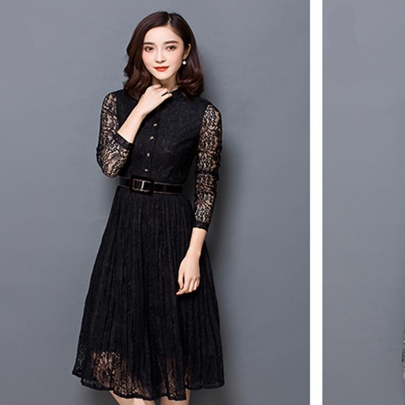Hot sale women elegant  lace dress summer spring hollow out high quality full sleeve plus size Vintage party dress