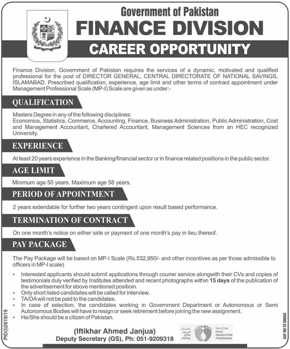 Finance Division Jobs Latest Government Of Pakistan Government