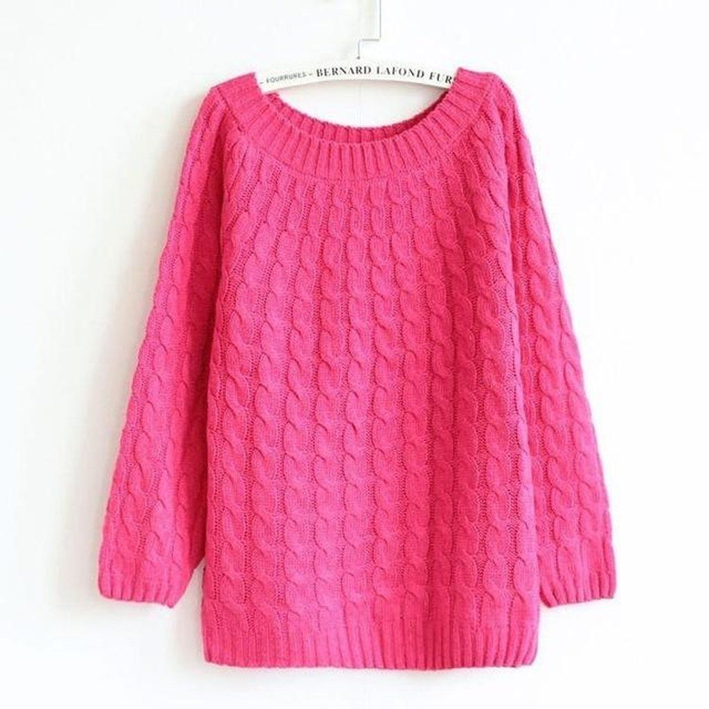 Casual Long Sleeve O-neck Twist Knitted jumper | Products ...