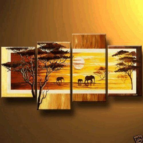 African Grassland Elephant Sunset Modern Art 100 Hand Painted Oil ...