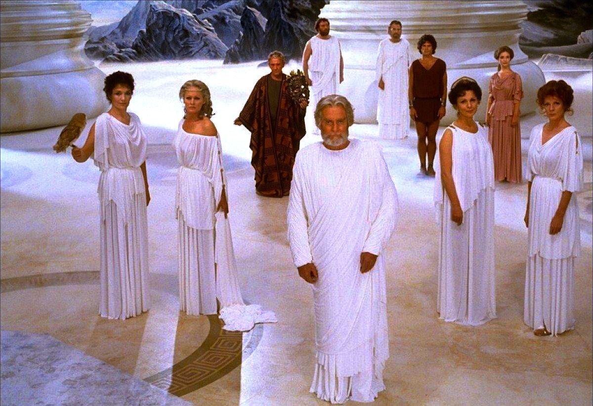 The gods on Mt. Olympus, Clash of the Titans (1981) | Clash of the titans,  Wrath of the titans, Claire bloom