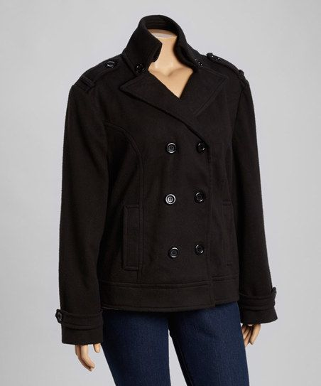 Yoki Black Fleece Peacoat - Plus | zulily   Cute